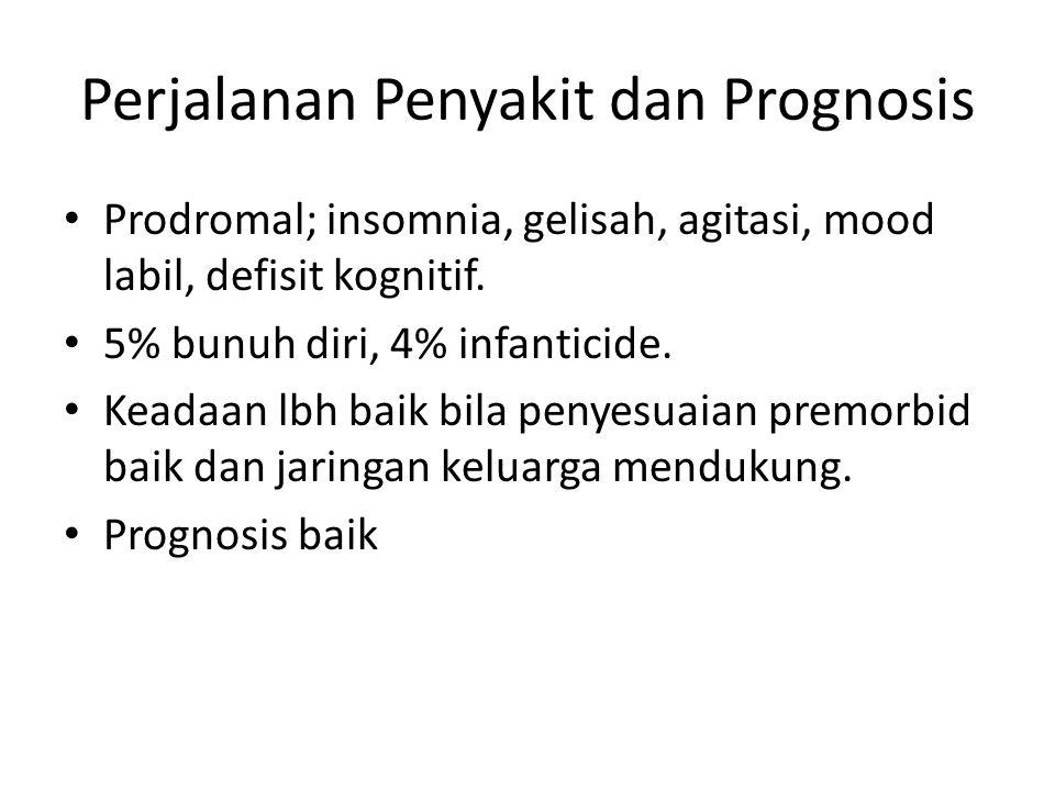 Perjalanan Penyakit dan Prognosis Prodromal; insomnia, gelisah, agitasi, mood labil, defisit kognitif. 5% bunuh diri, 4% infanticide. Keadaan lbh baik