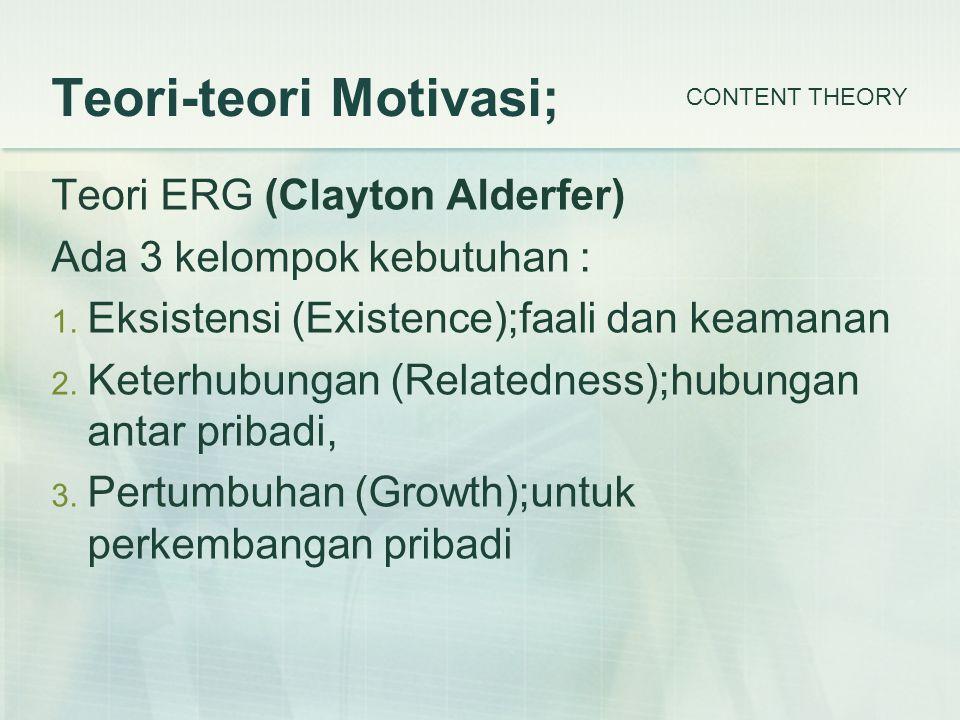 Teori-teori Motivasi; Teori ERG (Clayton Alderfer) Ada 3 kelompok kebutuhan : 1.