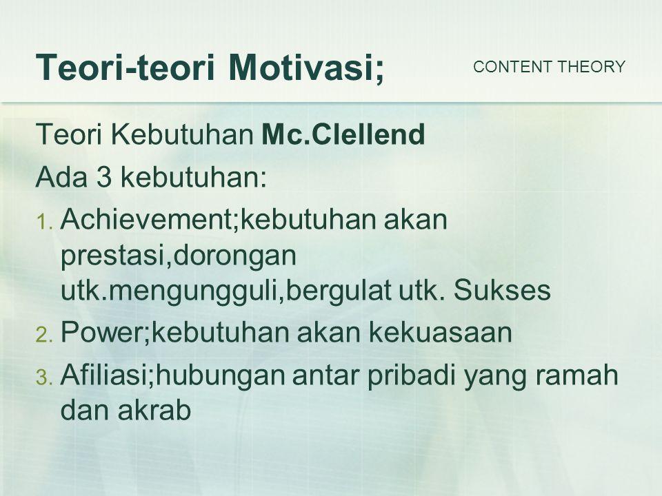 Teori-teori Motivasi; Teori Kebutuhan Mc.Clellend Ada 3 kebutuhan: 1.