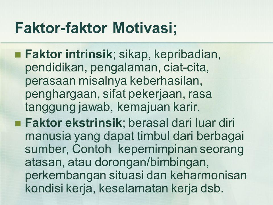 Faktor-faktor Motivasi; Faktor intrinsik; sikap, kepribadian, pendidikan, pengalaman, ciat-cita, perasaan misalnya keberhasilan, penghargaan, sifat pekerjaan, rasa tanggung jawab, kemajuan karir.