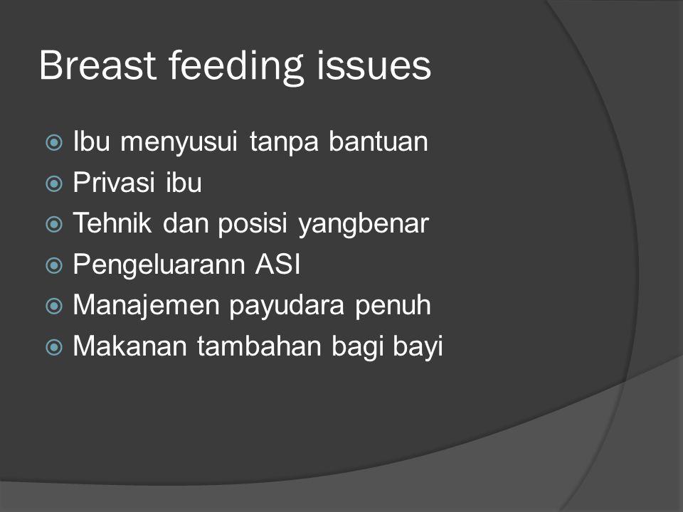 Breast feeding issues  Ibu menyusui tanpa bantuan  Privasi ibu  Tehnik dan posisi yangbenar  Pengeluarann ASI  Manajemen payudara penuh  Makanan
