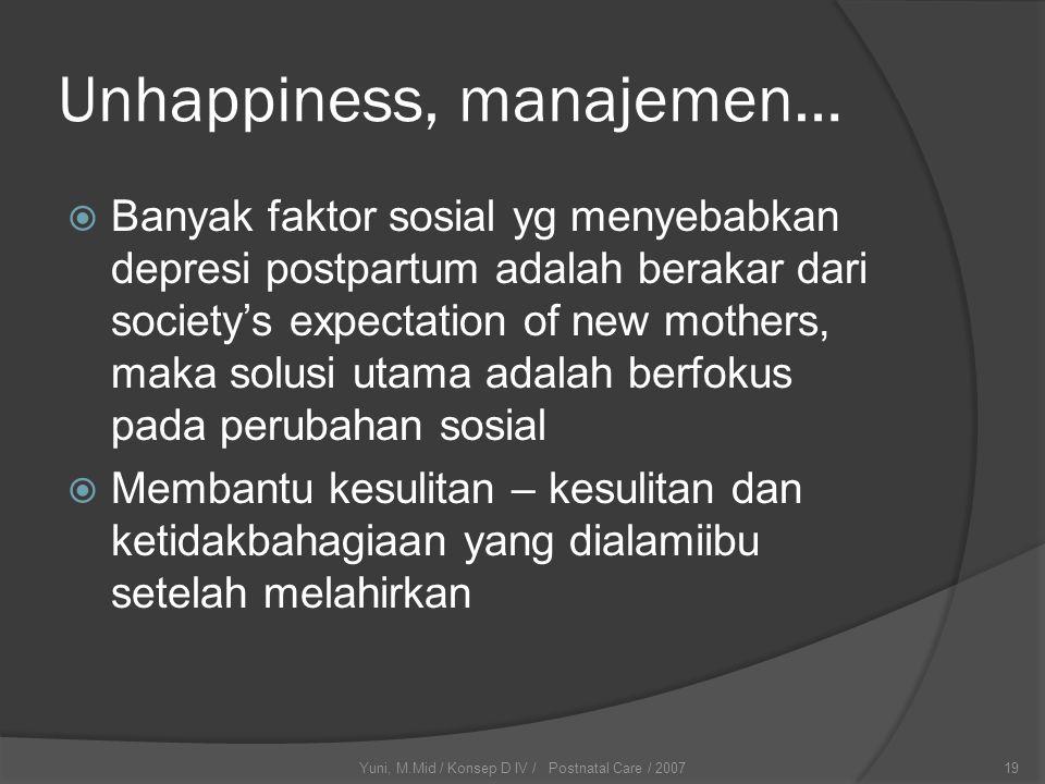 Yuni, M.Mid / Konsep D IV / Postnatal Care / 200719 Unhappiness, manajemen…  Banyak faktor sosial yg menyebabkan depresi postpartum adalah berakar da
