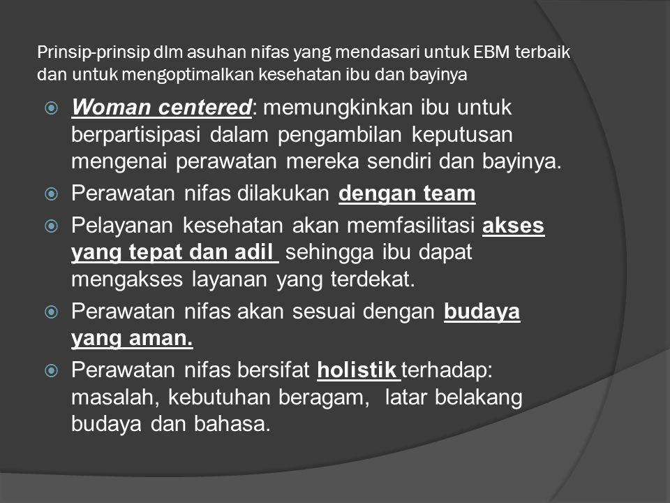 Prinsip-prinsip dlm asuhan nifas yang mendasari untuk EBM terbaik dan untuk mengoptimalkan kesehatan ibu dan bayinya  Woman centered: memungkinkan ibu untuk berpartisipasi dalam pengambilan keputusan mengenai perawatan mereka sendiri dan bayinya.