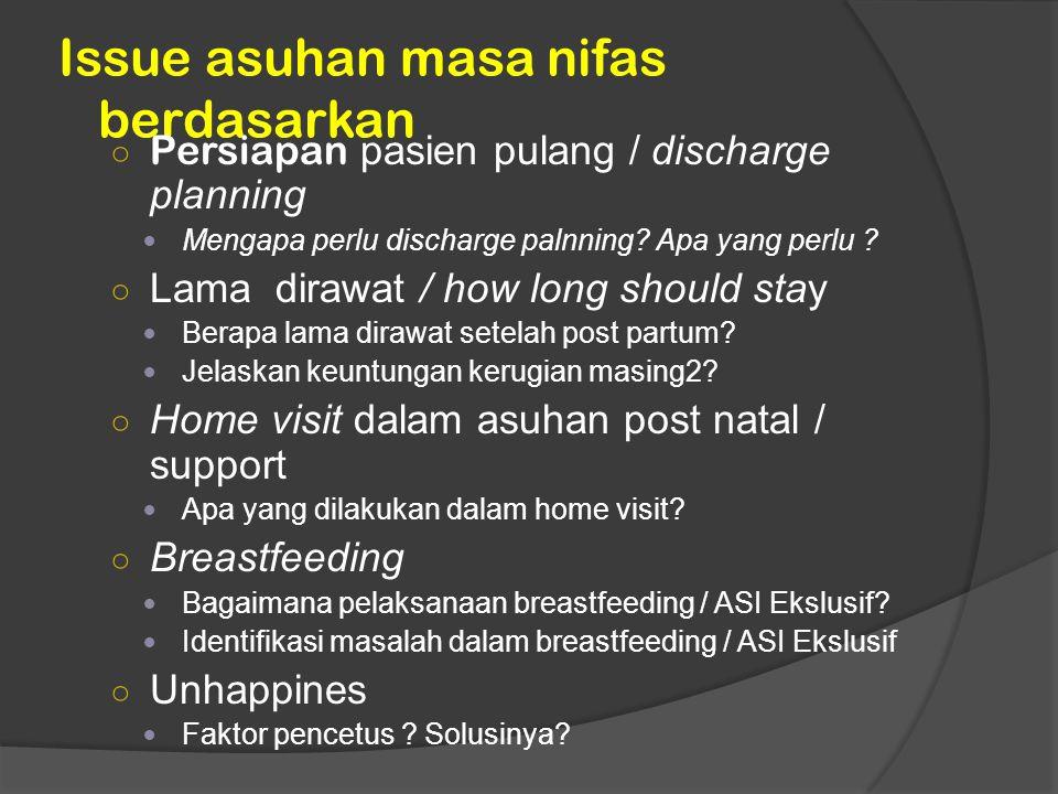 Issue asuhan masa nifas berdasarkan ○ Persiapan pasien pulang / discharge planning Mengapa perlu discharge palnning? Apa yang perlu ? ○ Lama dirawat /