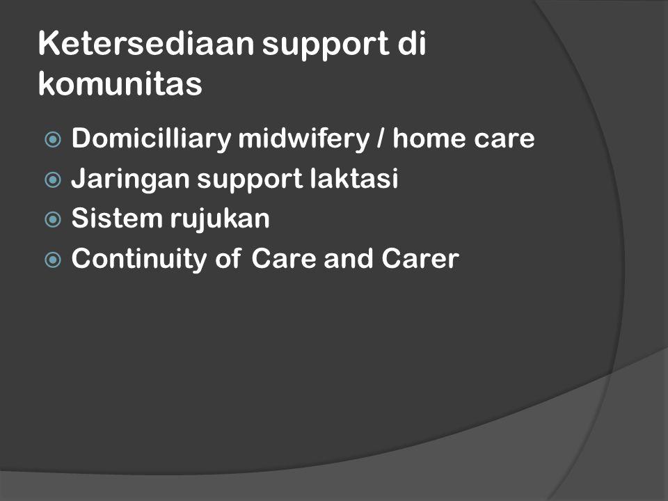 Ketersediaan support di komunitas  Domicilliary midwifery / home care  Jaringan support laktasi  Sistem rujukan  Continuity of Care and Carer