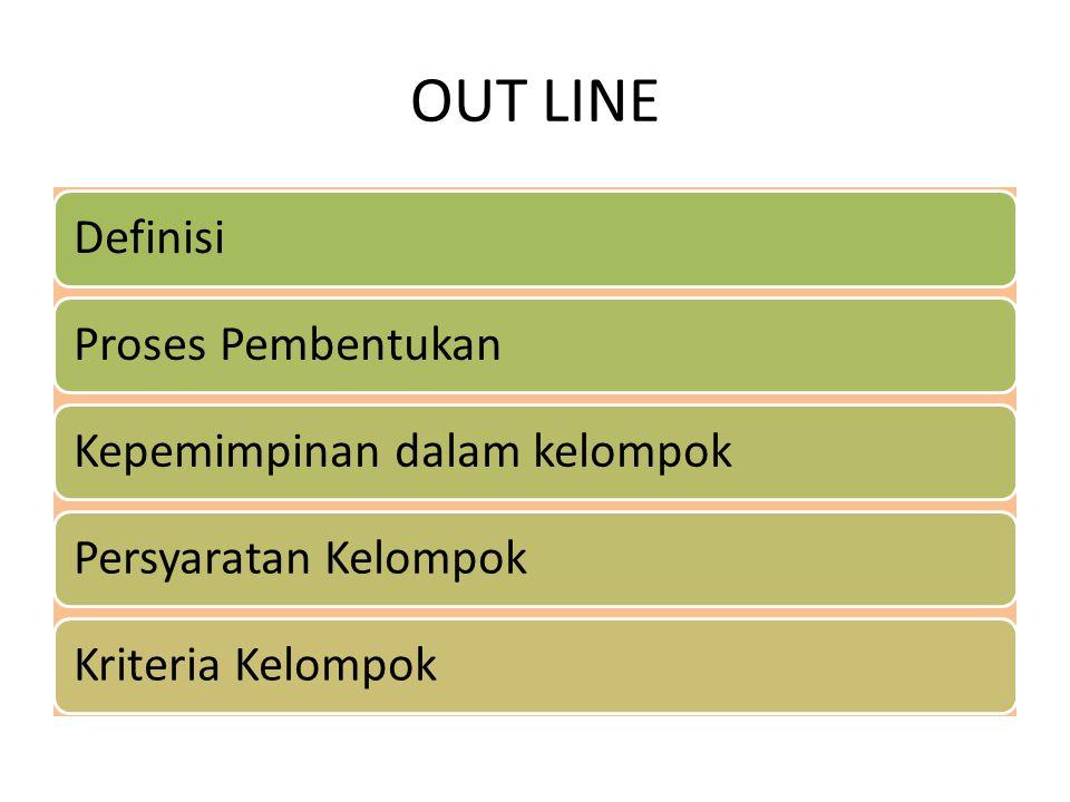 OUT LINE DefinisiProses PembentukanKepemimpinan dalam kelompokPersyaratan KelompokKriteria Kelompok