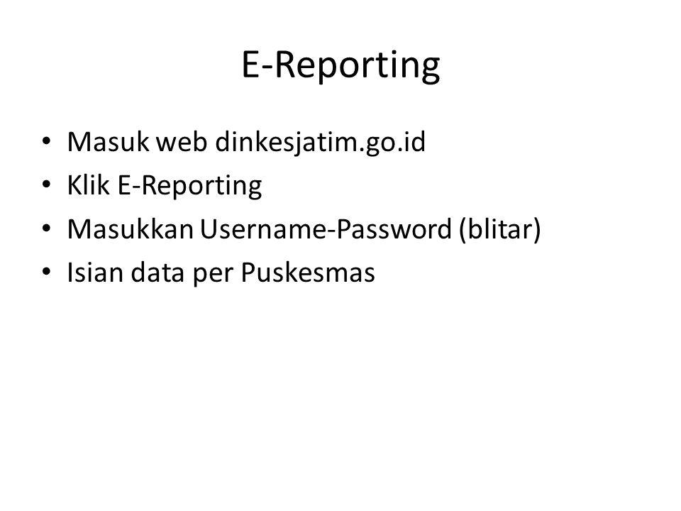 E-Reporting Masuk web dinkesjatim.go.id Klik E-Reporting Masukkan Username-Password (blitar) Isian data per Puskesmas
