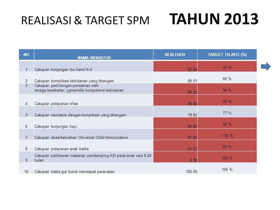REALISASI & TARGET SPM TAHUN 2013 NO NAMA INDIKATOR REALISASITARGET TH.2013 (%) 1Cakupan kunjungan ibu hamil K-4 82.60 93 % 2Cakupan komplikasi kebidanan yang ditangani 89.91 80 % 3Cakupan pertolongan persalinan oleh tenaga kesehatan ygmemiliki kompetensi kebidanan 86.52 94 % 4Cakupan pelayanan nifas 86.44 95 % 5Cakupan neonatus dengan komplikasi yang ditangani 78.82 77 % 6Cakupan kunjungan bayi 89.60 90 % 7Cakupan desa/kelurahan Universal Child Immunization 87.90 > 95 % 8Cakupan pelayanan anak balita 61.23 85 % 9 Cakupan pemberian makanan pendamping ASI pada anak usia 6-24 bulan 6.38 100 % 10Cakupan balita gizi buruk mendapat perawatan 100.00 100 %