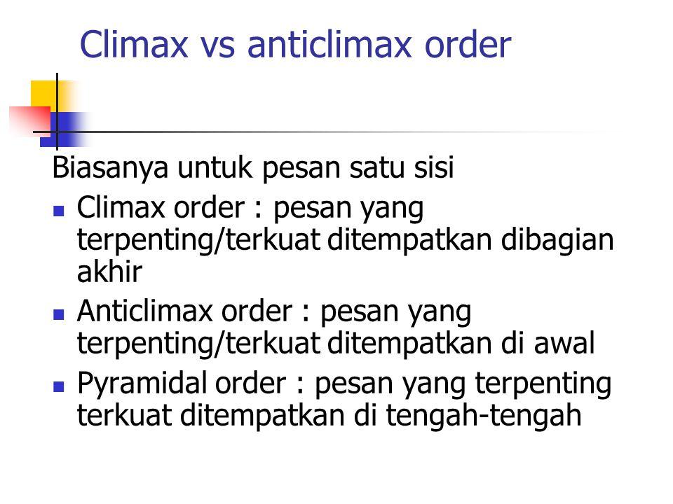 Climax vs anticlimax order Biasanya untuk pesan satu sisi Climax order : pesan yang terpenting/terkuat ditempatkan dibagian akhir Anticlimax order : p