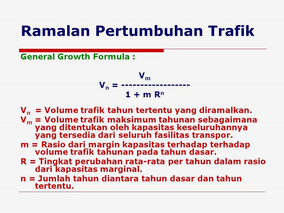 Ramalan Pertumbuhan Trafik General Growth Formula : VmVm V n = ------------------ 1 + m R n V n = Volume trafik tahun tertentu yang diramalkan. V m =