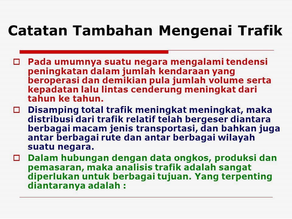Catatan Tambahan Mengenai Trafik  Pada umumnya suatu negara mengalami tendensi peningkatan dalam jumlah kendaraan yang beroperasi dan demikian pula j