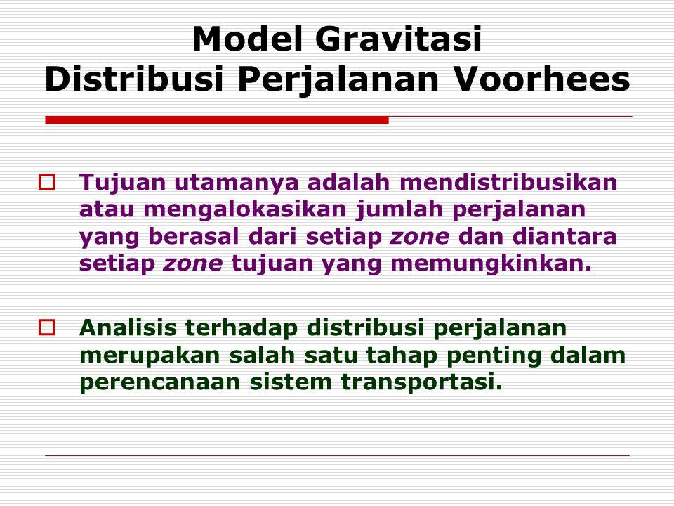 Model Gravitasi Distribusi Perjalanan Voorhees  Tujuan utamanya adalah mendistribusikan atau mengalokasikan jumlah perjalanan yang berasal dari setia