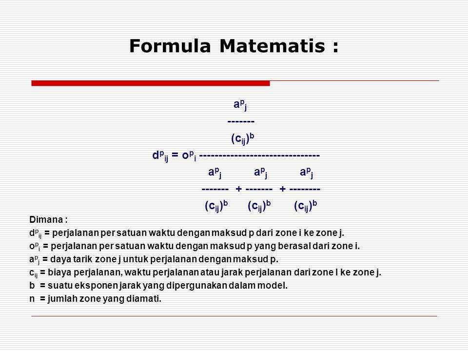 Formula Matematis : a p j ------- (c ij ) b d p ij = o p i ------------------------------- a p j a p j a p j ------- + ------- + -------- (c ij ) b (c