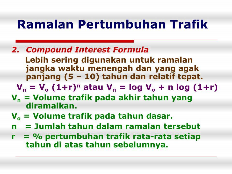 Ramalan Pertumbuhan Trafik 2.Compound Interest Formula Lebih sering digunakan untuk ramalan jangka waktu menengah dan yang agak panjang (5 – 10) tahun