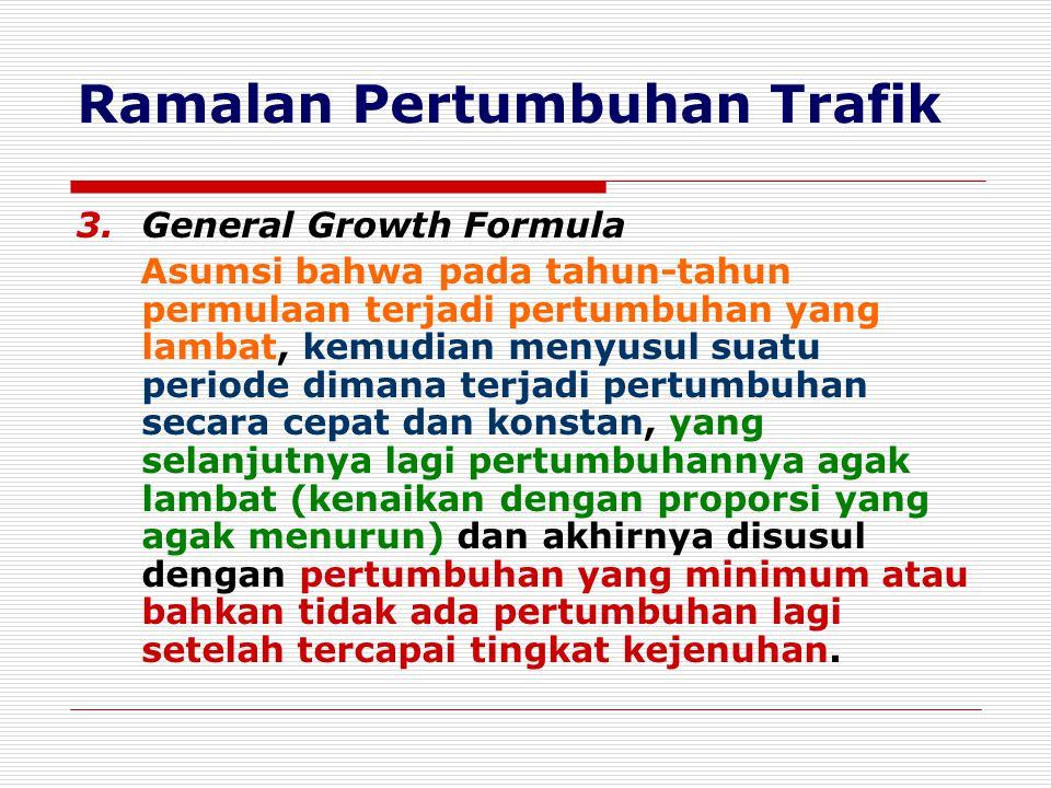 Ramalan Pertumbuhan Trafik General Growth Formula : VmVm V n = ------------------ 1 + m R n V n = Volume trafik tahun tertentu yang diramalkan.