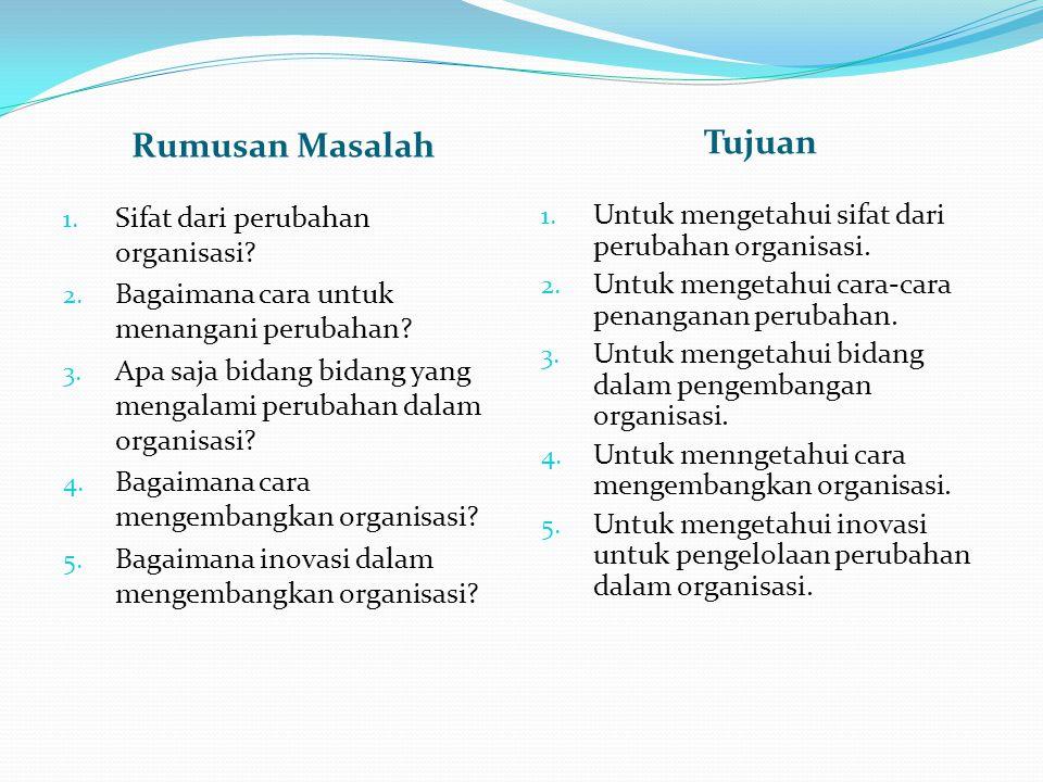 Rumusan Masalah Tujuan 1. Sifat dari perubahan organisasi.