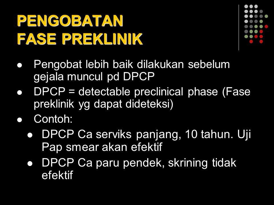 PENGOBATAN FASE PREKLINIK Pengobat lebih baik dilakukan sebelum gejala muncul pd DPCP DPCP = detectable preclinical phase (Fase preklinik yg dapat did