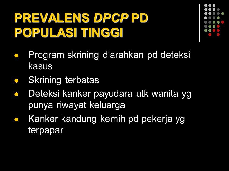 PREVALENS DPCP PD POPULASI TINGGI Program skrining diarahkan pd deteksi kasus Skrining terbatas Deteksi kanker payudara utk wanita yg punya riwayat ke