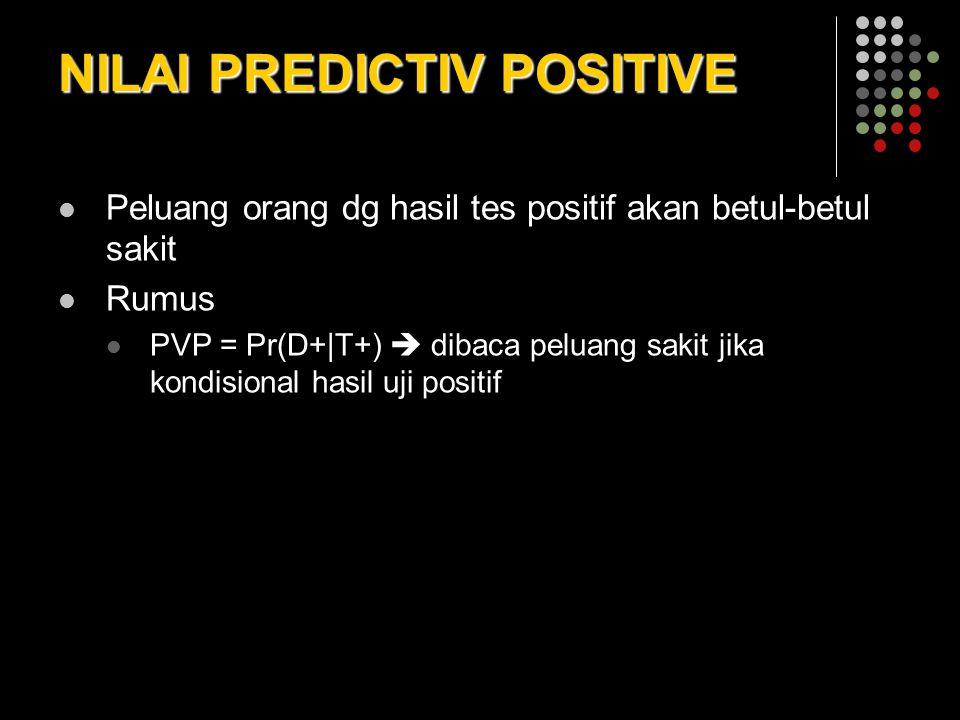 NILAI PREDICTIV POSITIVE Peluang orang dg hasil tes positif akan betul-betul sakit Rumus PVP = Pr(D+|T+)  dibaca peluang sakit jika kondisional hasil