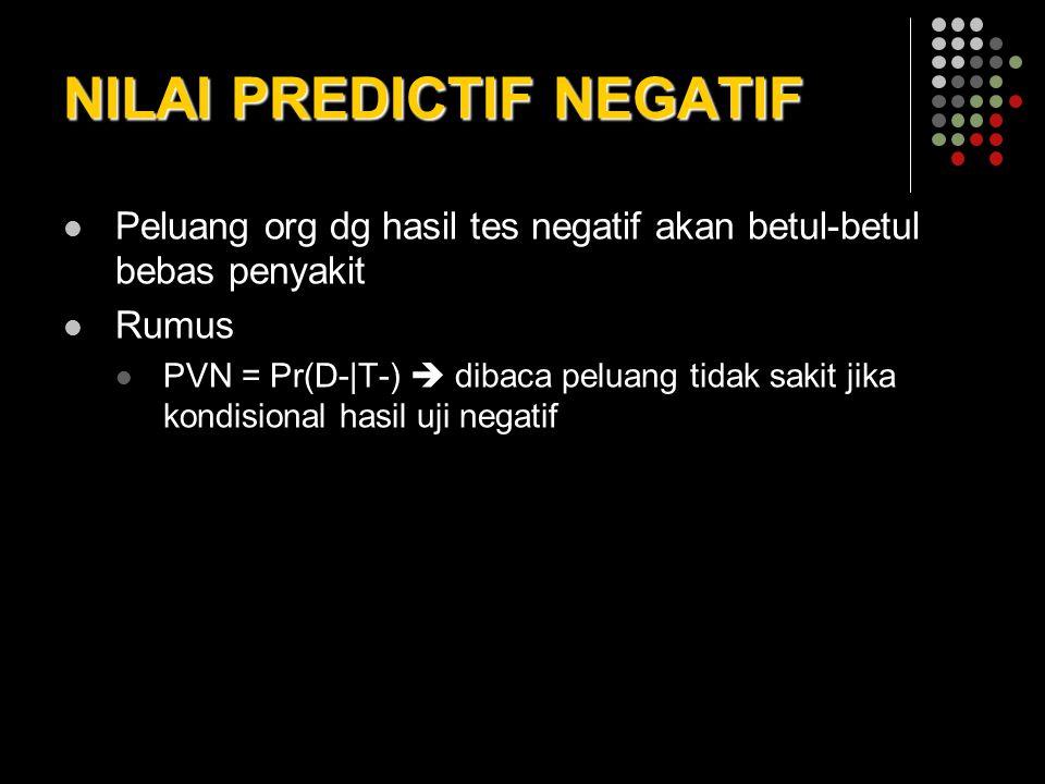 NILAI PREDICTIF NEGATIF Peluang org dg hasil tes negatif akan betul-betul bebas penyakit Rumus PVN = Pr(D-|T-)  dibaca peluang tidak sakit jika kondi