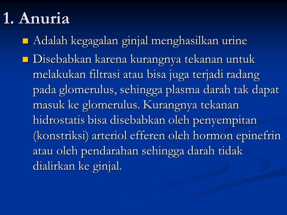 1. Anuria Adalah kegagalan ginjal menghasilkan urine Adalah kegagalan ginjal menghasilkan urine Disebabkan karena kurangnya tekanan untuk melakukan fi