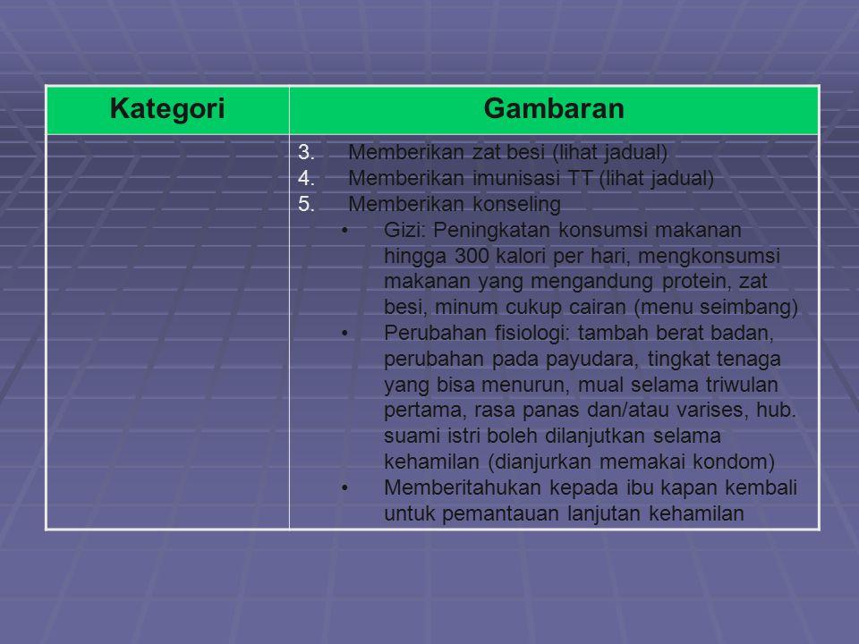 KategoriGambaran 3.Memberikan zat besi (lihat jadual) 4.Memberikan imunisasi TT (lihat jadual) 5.Memberikan konseling Gizi: Peningkatan konsumsi makan