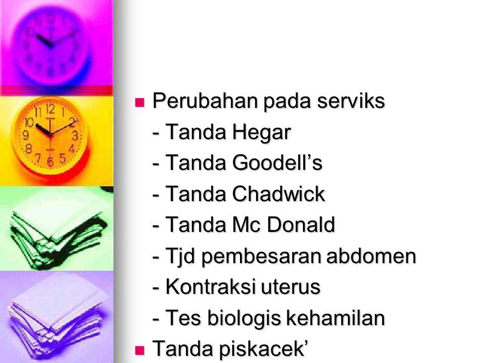 Perubahan pada serviks Perubahan pada serviks - Tanda Hegar - Tanda Goodell's - Tanda Chadwick - Tanda Mc Donald - Tjd pembesaran abdomen - Kontraksi