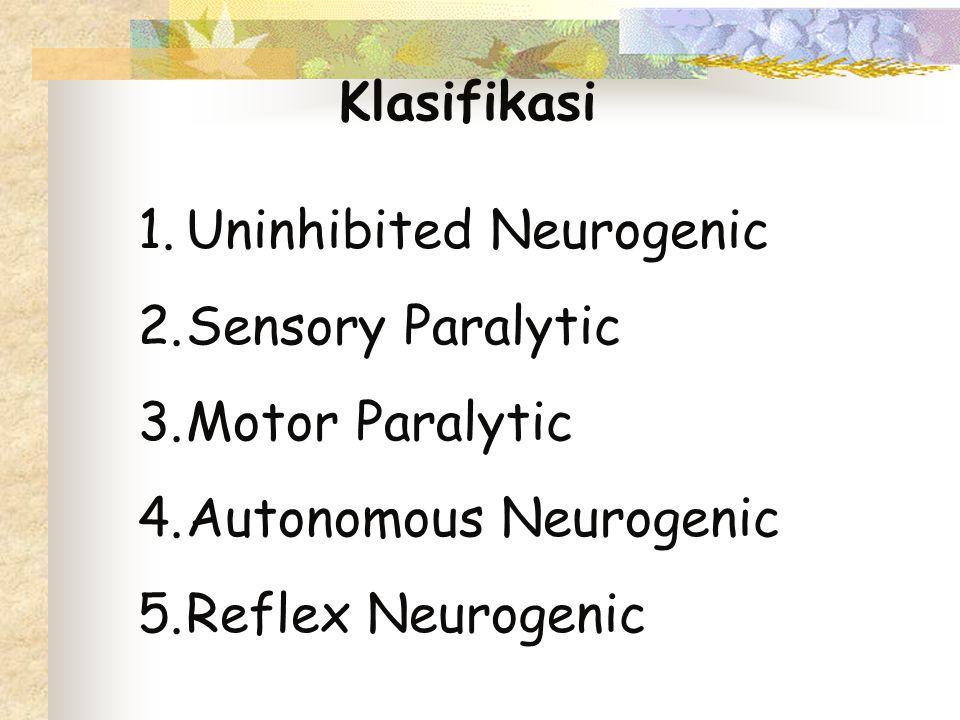 Klasifikasi 1.Uninhibited Neurogenic 2.Sensory Paralytic 3.Motor Paralytic 4.Autonomous Neurogenic 5.Reflex Neurogenic