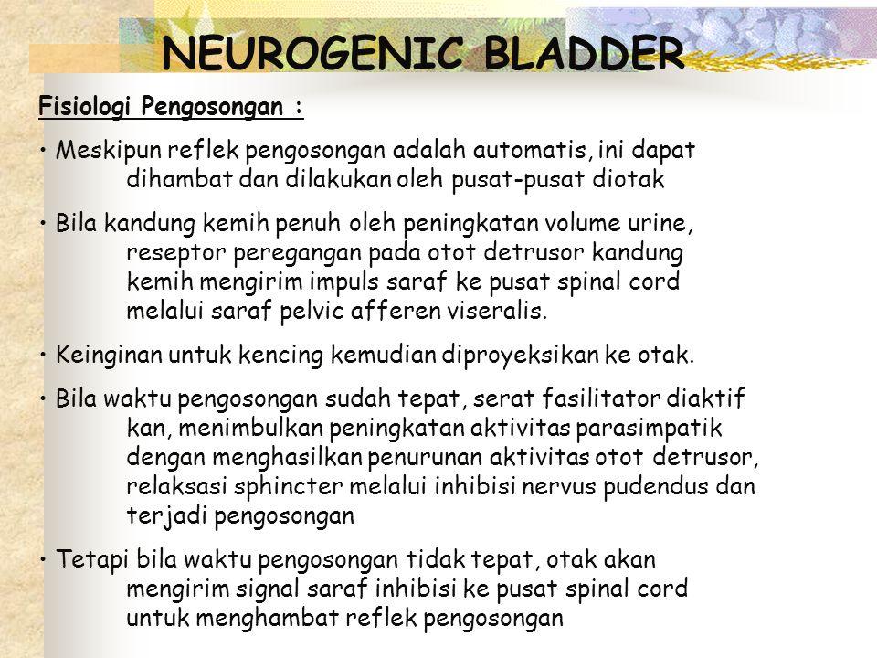 NEUROGENIC BLADDER Fisiologi Pengosongan : Meskipun reflek pengosongan adalah automatis, ini dapat dihambat dan dilakukan oleh pusat-pusat diotak Bila