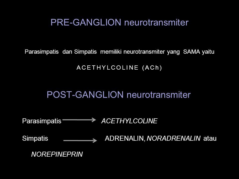 PRE-GANGLION neurotransmiter Parasimpatis dan Simpatis memiliki neurotransmiter yang SAMA yaitu ACETHYLCOLINE (ACh) POST-GANGLION neurotransmiter Para