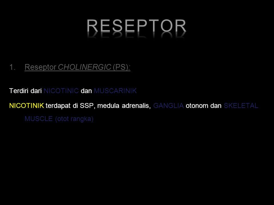 1.Reseptor CHOLINERGIC (PS): Terdiri dari NICOTINIC dan MUSCARINIK NICOTINIK terdapat di SSP, medula adrenalis, GANGLIA otonom dan SKELETAL MUSCLE (ot