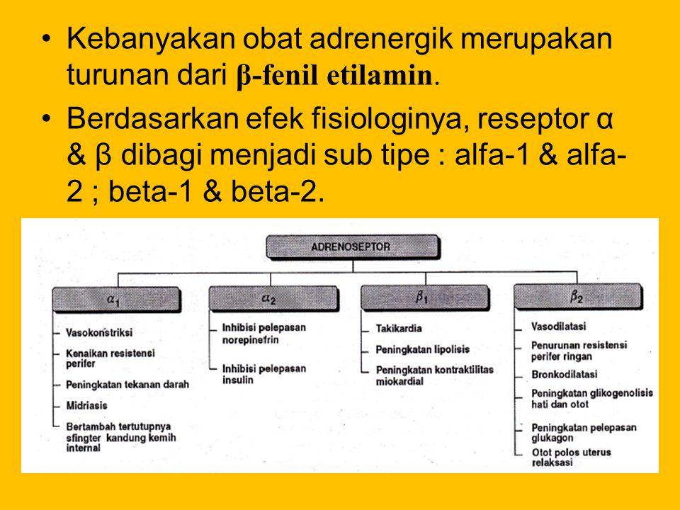 Kebanyakan obat adrenergik merupakan turunan dari β-fenil etilamin. Berdasarkan efek fisiologinya, reseptor α & β dibagi menjadi sub tipe : alfa-1 & a