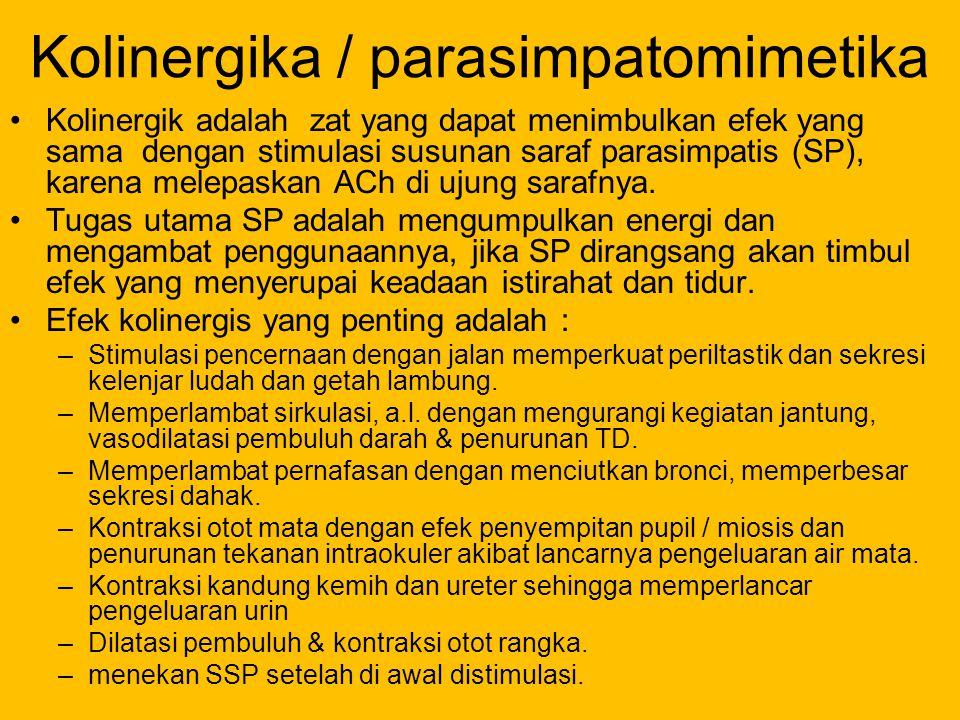 Kolinergika / parasimpatomimetika Kolinergik adalah zat yang dapat menimbulkan efek yang sama dengan stimulasi susunan saraf parasimpatis (SP), karena