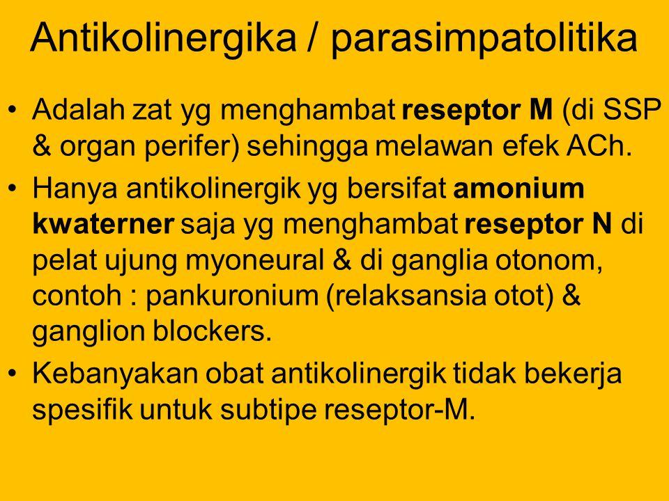 Antikolinergika / parasimpatolitika Adalah zat yg menghambat reseptor M (di SSP & organ perifer) sehingga melawan efek ACh. Hanya antikolinergik yg be