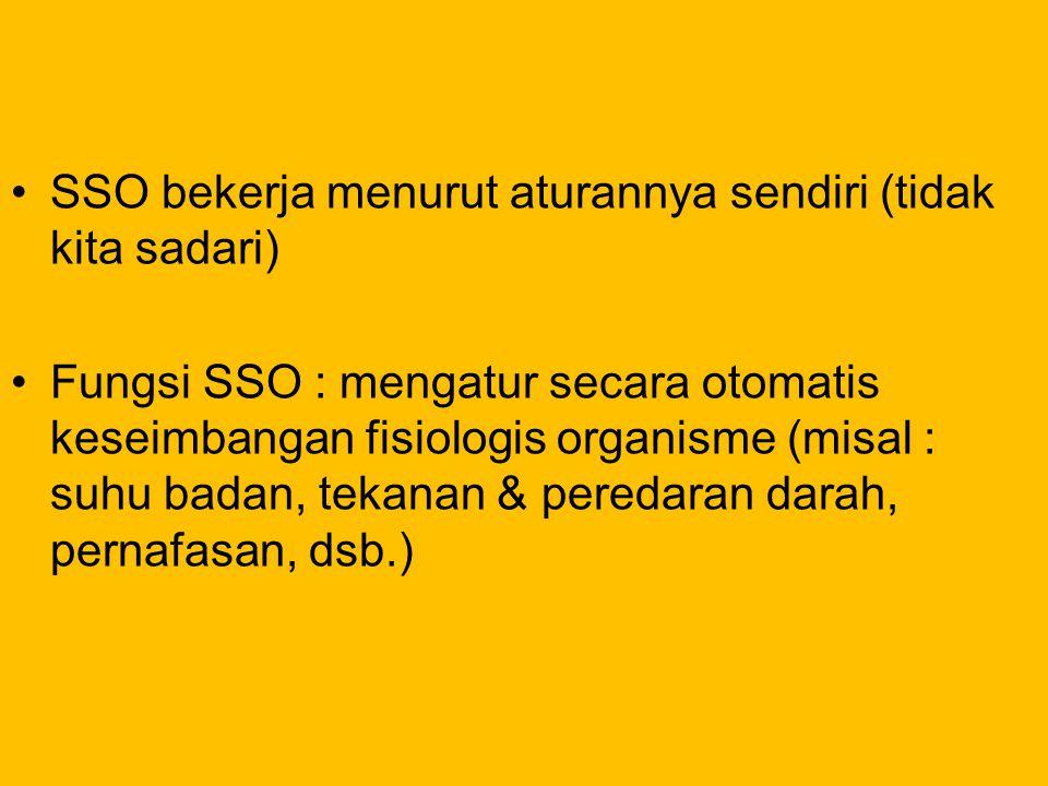 SSO bekerja menurut aturannya sendiri (tidak kita sadari) Fungsi SSO : mengatur secara otomatis keseimbangan fisiologis organisme (misal : suhu badan,
