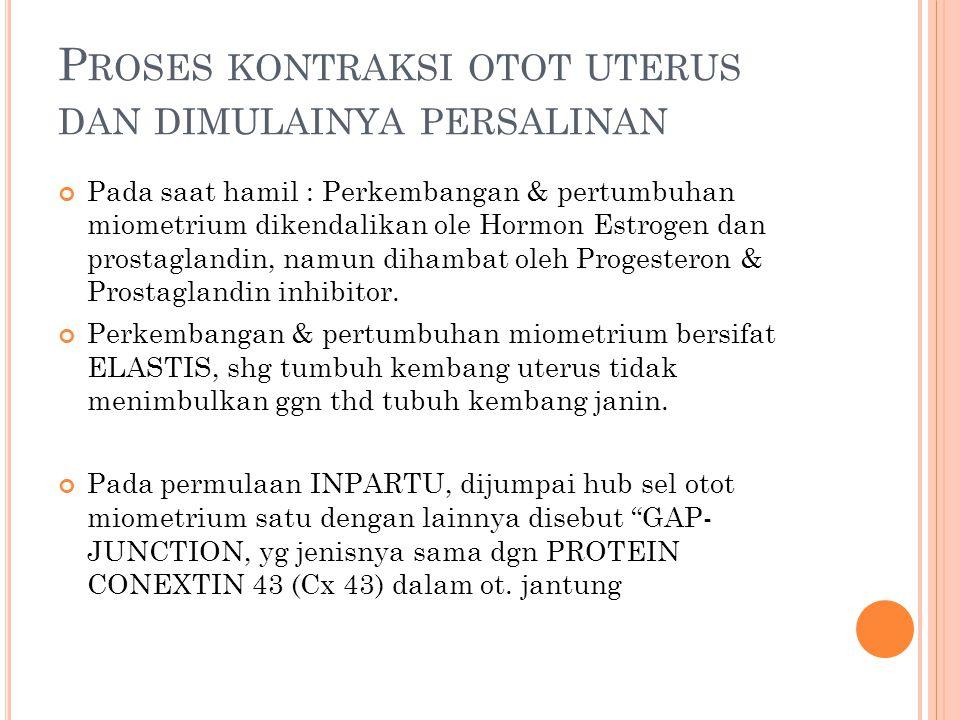 P ROSES KONTRAKSI OTOT UTERUS DAN DIMULAINYA PERSALINAN Pada saat hamil : Perkembangan & pertumbuhan miometrium dikendalikan ole Hormon Estrogen dan p