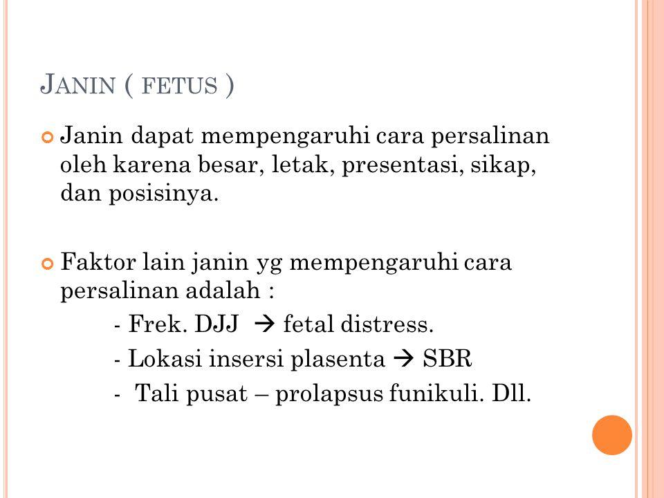J ANIN ( FETUS ) Janin dapat mempengaruhi cara persalinan oleh karena besar, letak, presentasi, sikap, dan posisinya. Faktor lain janin yg mempengaruh