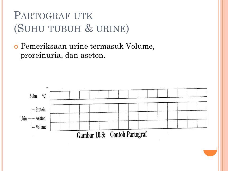 P ARTOGRAF UTK (S UHU TUBUH & URINE ) Pemeriksaan urine termasuk Volume, proreinuria, dan aseton.