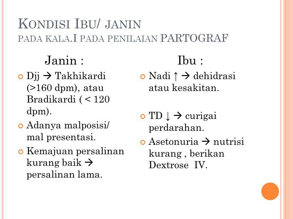 K ONDISI I BU / JANIN PADA KALA.I PADA PENILAIAN PARTOGRAF Janin : Djj  Takhikardi (>160 dpm), atau Bradikardi ( < 120 dpm). Adanya malposisi/ mal pr