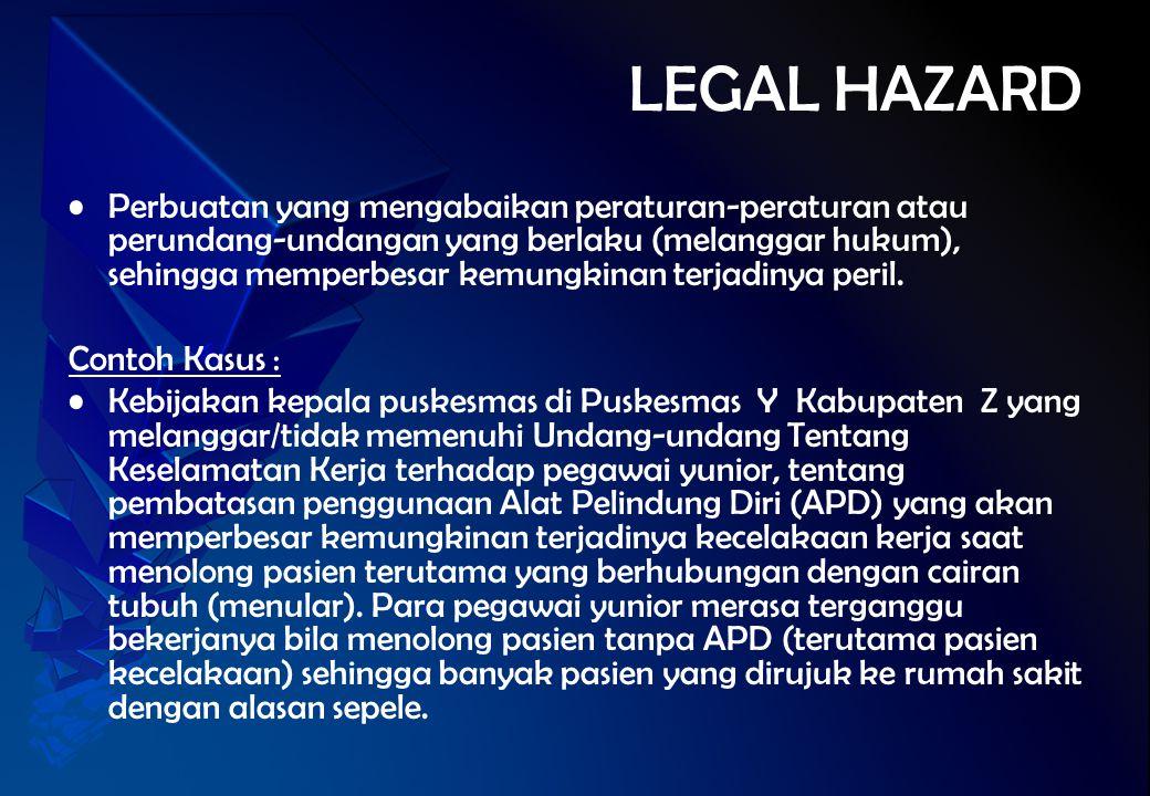LEGAL HAZARD Perbuatan yang mengabaikan peraturan-peraturan atau perundang-undangan yang berlaku (melanggar hukum), sehingga memperbesar kemungkinan t