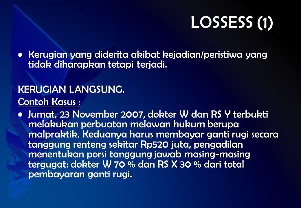 LOSSESS (1) Kerugian yang diderita akibat kejadian/peristiwa yang tidak diharapkan tetapi terjadi. KERUGIAN LANGSUNG. Contoh Kasus : Jumat, 23 Novembe