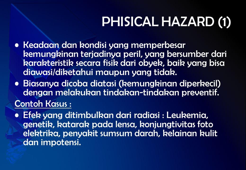 PHISICAL HAZARD (1) Keadaan dan kondisi yang memperbesar kemungkinan terjadinya peril, yang bersumber dari karakteristik secara fisik dari obyek, baik