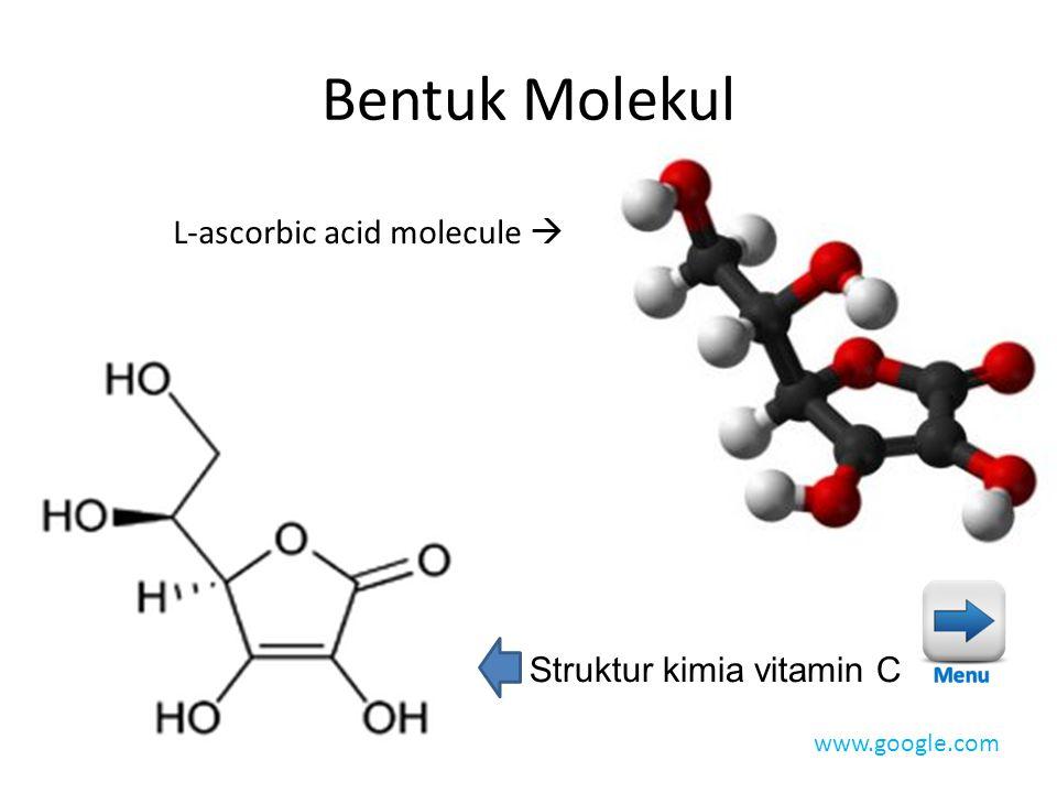 Bentuk Molekul L-ascorbic acid molecule  Struktur kimia vitamin C www.google.com