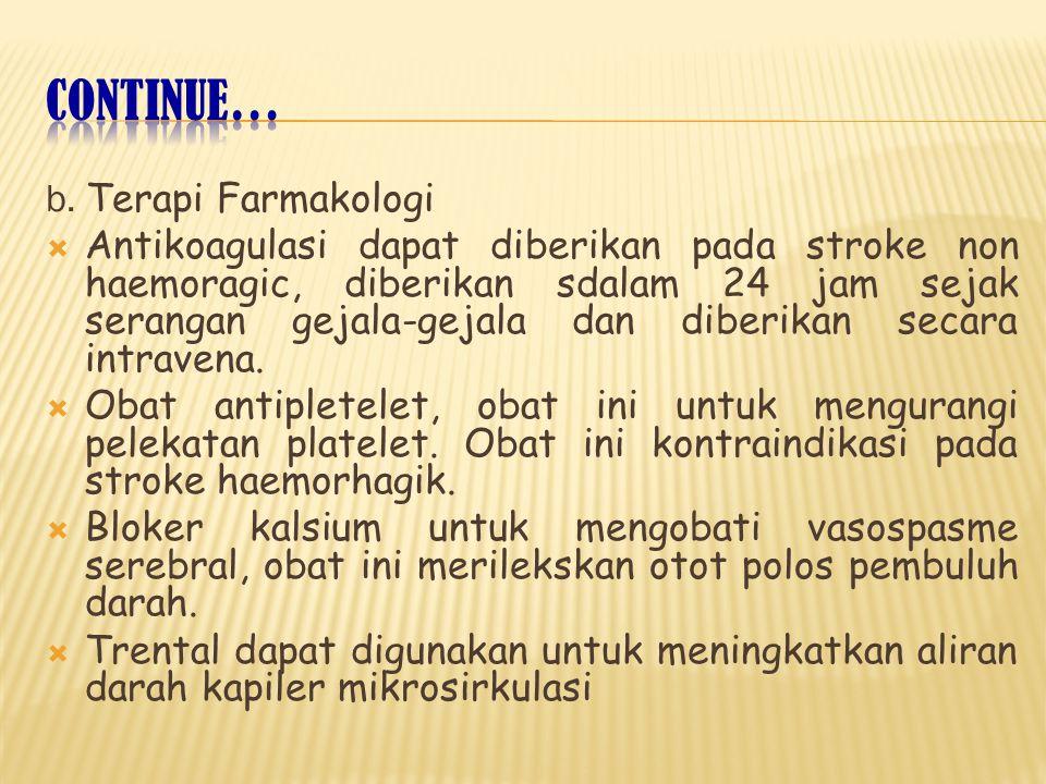 b. Terapi Farmakologi  Antikoagulasi dapat diberikan pada stroke non haemoragic, diberikan sdalam 24 jam sejak serangan gejala-gejala dan diberikan s