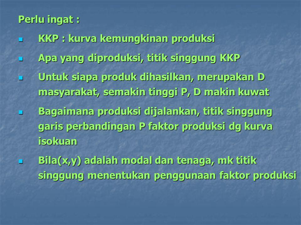 Perlu ingat : KKP : kurva kemungkinan produksi KKP : kurva kemungkinan produksi Apa yang diproduksi, titik singgung KKP Apa yang diproduksi, titik sin