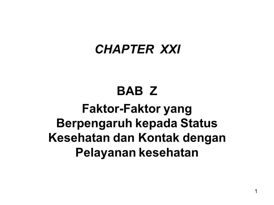 1 CHAPTER XXI BAB Z Faktor-Faktor yang Berpengaruh kepada Status Kesehatan dan Kontak dengan Pelayanan kesehatan