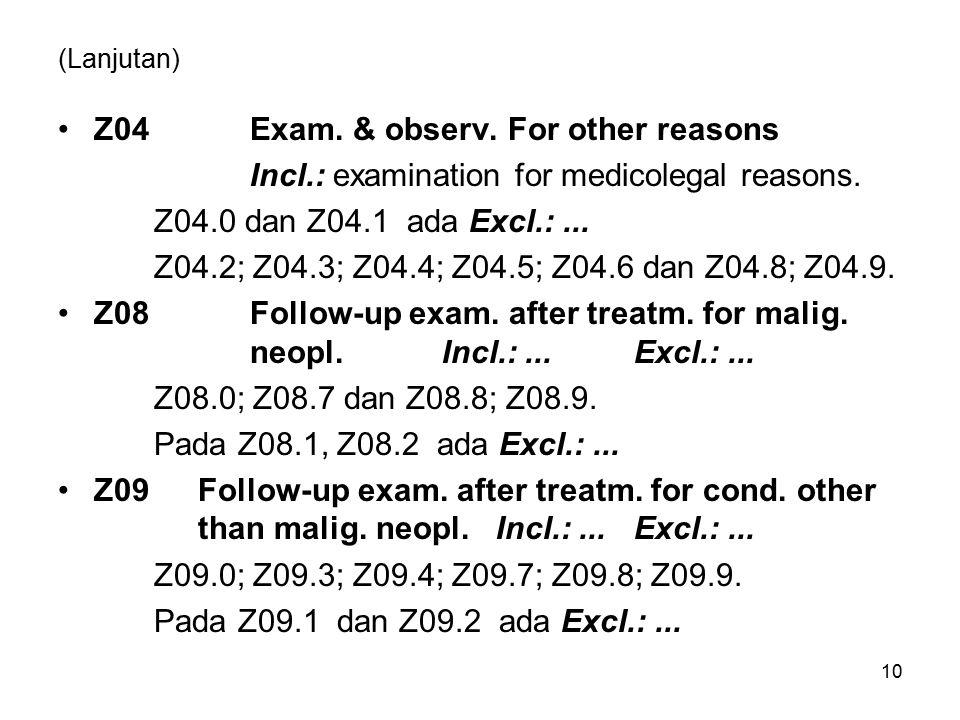 (Lanjutan) Z04Exam. & observ. For other reasons Incl.: examination for medicolegal reasons. Z04.0 dan Z04.1 ada Excl.:... Z04.2; Z04.3; Z04.4; Z04.5;
