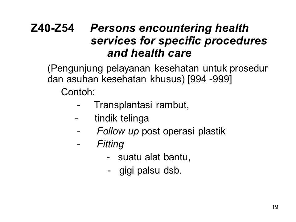 Z40-Z54Persons encountering health services for specific procedures and health care (Pengunjung pelayanan kesehatan untuk prosedur dan asuhan kesehata