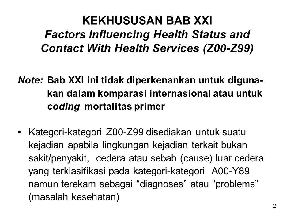 2 KEKHUSUSAN BAB XXI Factors Influencing Health Status and Contact With Health Services (Z00-Z99) Note:Bab XXI ini tidak diperkenankan untuk diguna- kan dalam komparasi internasional atau untuk coding mortalitas primer Kategori-kategori Z00-Z99 disediakan untuk suatu kejadian apabila lingkungan kejadian terkait bukan sakit/penyakit, cedera atau sebab (cause) luar cedera yang terklasifikasi pada kategori-kategori A00-Y89 namun terekam sebagai diagnoses atau problems (masalah kesehatan)