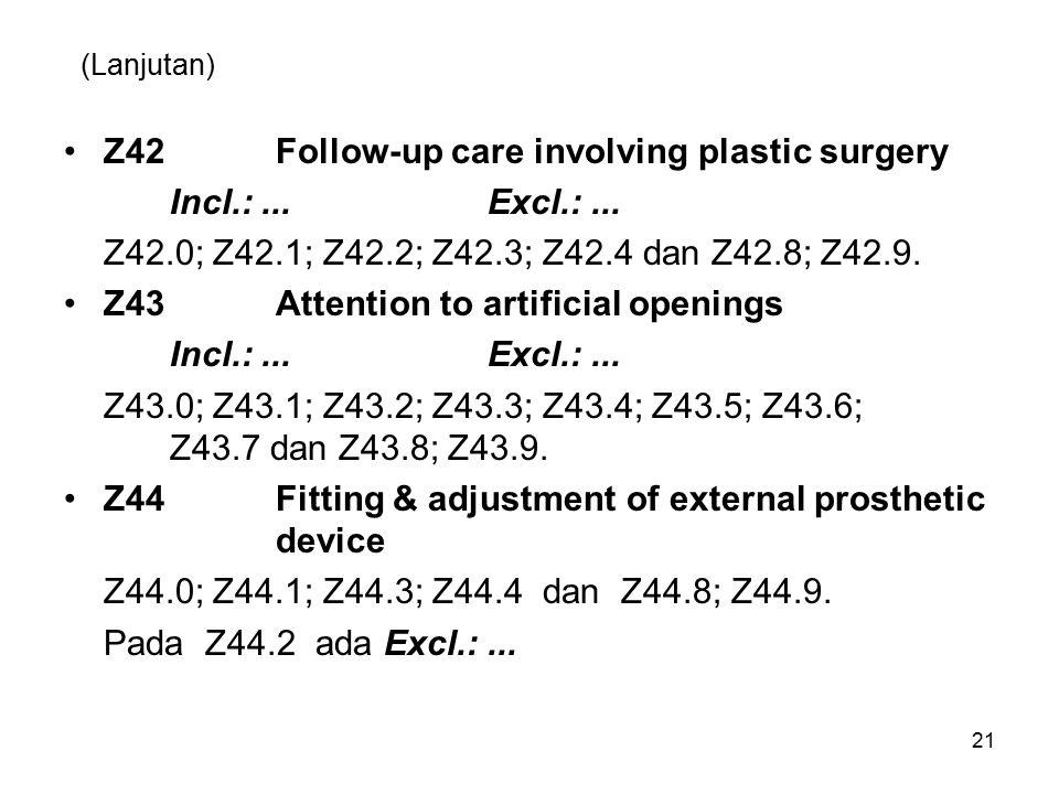 (Lanjutan) Z42Follow-up care involving plastic surgery Incl.:...Excl.:... Z42.0; Z42.1; Z42.2; Z42.3; Z42.4 dan Z42.8; Z42.9. Z43Attention to artifici
